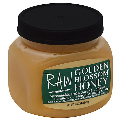 Raw Golden Blossom Honey - 16 Oz