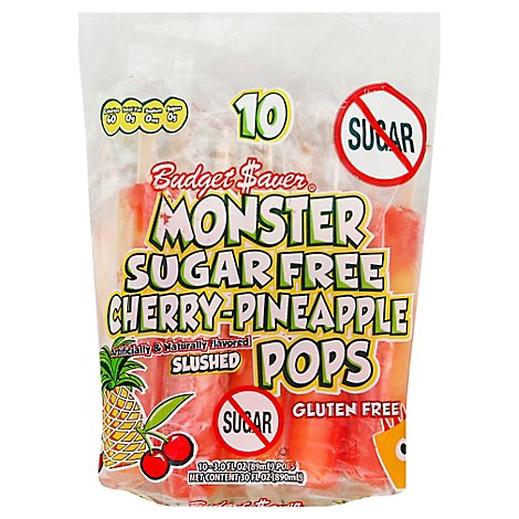 Budget Saver Monster Pops Sugar Free Cherry Pineapple 10 Count - 30 Fl. Oz.