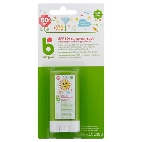 Babyganics Sunscreen Stick Broad Spectrum SPF 50+ Pure Mineral - 0.47 Oz