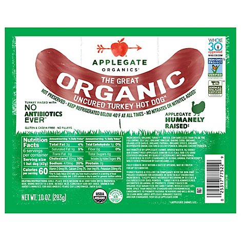Applegate The Great Organic Uncured Turkey Hot Dog - 10oz