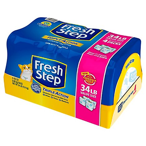 Fresh Step Cat Litter Clumping Triple Action Scented Value Size Shrink Wrapped - 34 Lb