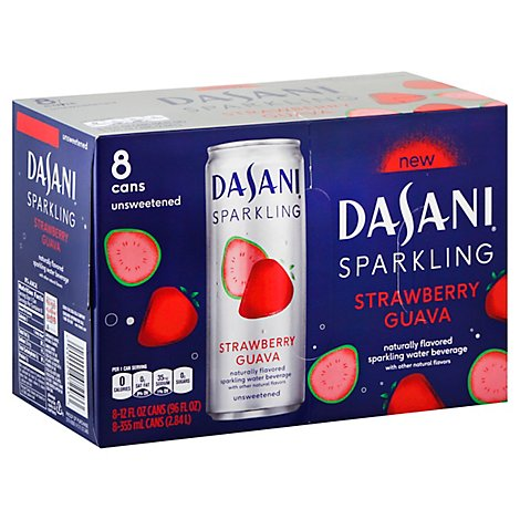 Dasani Water Sparkling Zero Calorie Strawberry Guava Flavored 8 Count - 12 Fl. Oz.