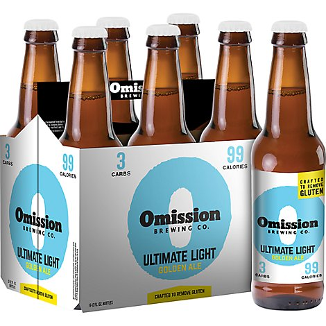 Omission Brewing Beer Gluten Free Ultimate Light Golden Ale Bottle - 6-12 Fl. Oz.