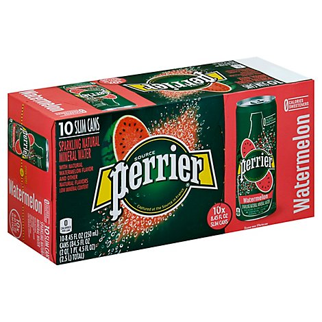 Perrier Watermelon Flavored Carbonated Mineral Water Slim Cans - 10-8.45 Fl. Oz.