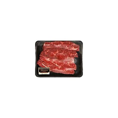 Meat Service Counter USDA Choice Beef Chuck Flanken Style Ribs With Kalibi Marinade - 1.50 Lbs.