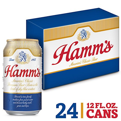 Hamms Americas Classic Premium Lager Beer Cans 4.7% ABV - 24-12 Fl. Oz.