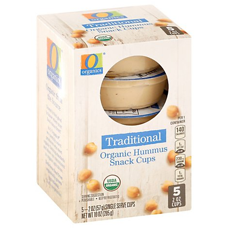 O Organic Traditional Hummus Snack Cups - 5 Count- 2 Oz.