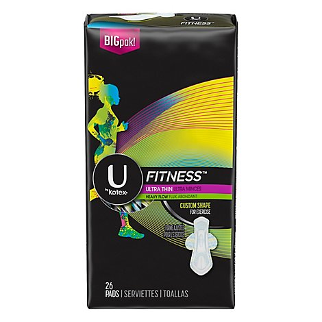 U by Kotex Fitness Pads Ultra Thin Heavy Flow - 26 Count