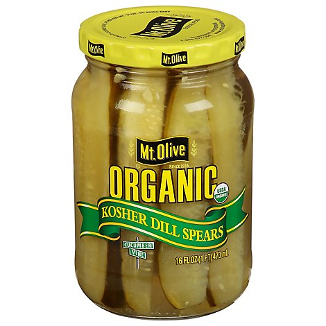 Mt. Olive Organic Pickles Kosher Dill Spears Fresh Pack - 16 Fl. Oz.