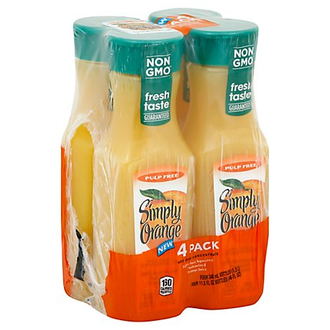 Simply Orange Juice Drink Pulp Free Orange - 4-11.5 Fl. Oz.