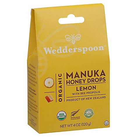 Wedderspoon Organic Manuka Honey Drops Lemon With Bee Propolis - 4 Oz