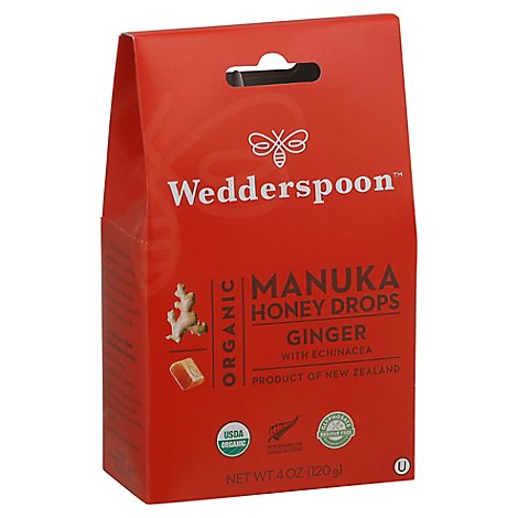 Wedderspoon Organic Manuka Honey Drops Ginger With Echinacea - 4 Oz