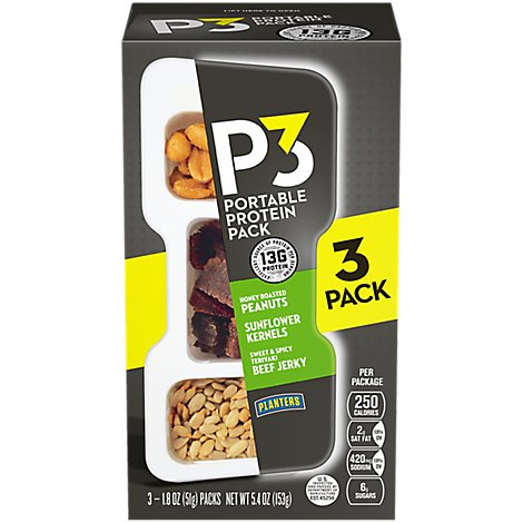 P3 Portable Protein Pack Roasted Peanuts Teriyaki Beef Jerky Sunflower Kernels - 3-1.8 Oz
