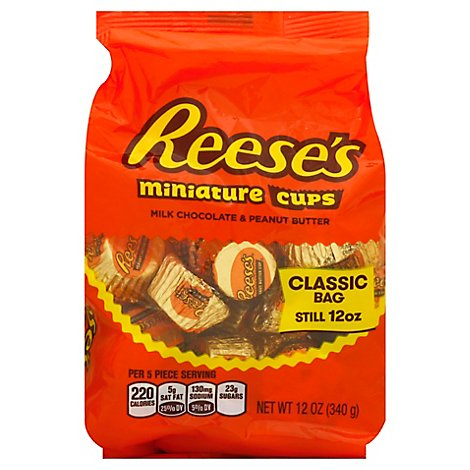 Reeses Peanut Butter Cups Milk Chocolate Miniature Classic Bag - 12 Oz