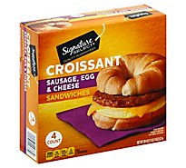 Signature Select Sandwich Croissant Sausage Egg Cheese - 4 Count