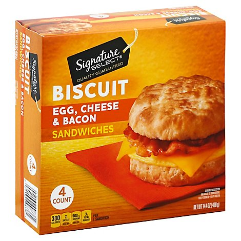 Signature Select Sandwich Biscuit Bacon - 4 Count
