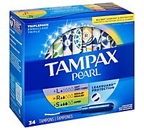 Tampax Pearl Tampons Light Regular Super Absorbency With Leak Guard Protection - 34 Count