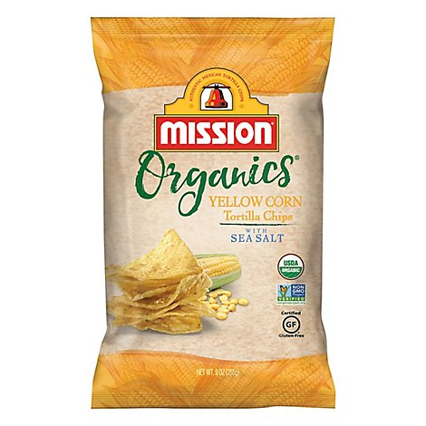 Mission Organics Tortilla Chips Yellow Corn with Sea Salt - 9 Oz