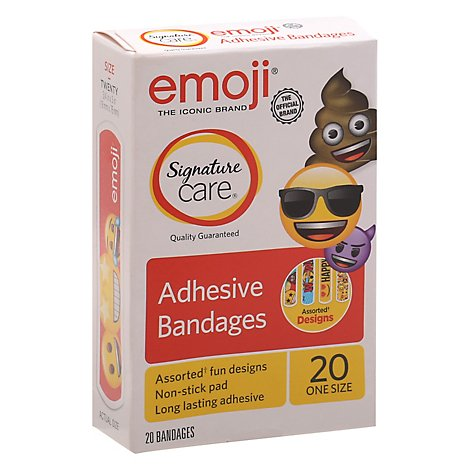 Signature Care Adhesive Bandages Emoji One Size - 20 Count