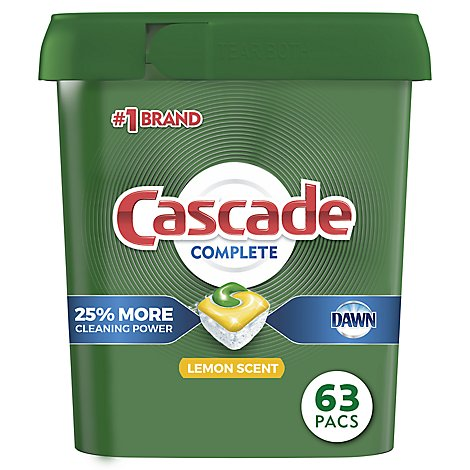 Cascade Complete Dishwasher Detergent ActionPacs Lemon Scent Tub - 63 Count