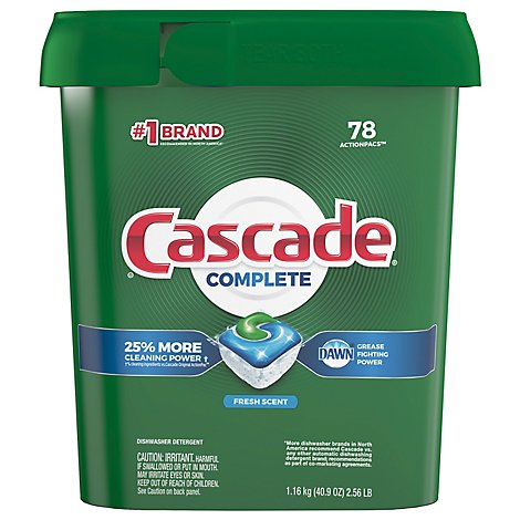 Cascade Complete Dishwasher Detergent ActionPacs Fresh Scent Tub - 78 Count