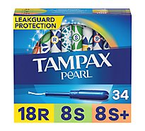 Tampax Pearl Tampons Triplepack Unscented 8 Regular 8 Super 8 Super Plus - 34 Count