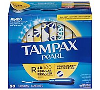 Tampax Pearl Tampons With LeakGuard Regular Absorbency Unscented Jumbo - 50 Count