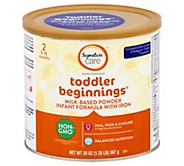 Signature Care toddler beginnings Infant Formula Milk Based Powder 9 To 18 Months - 20 Oz