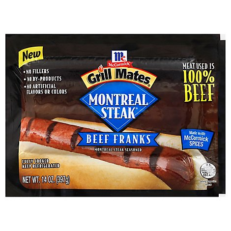 McCormick Grill Mates Beef Franks Montreal Steak - 14 Oz