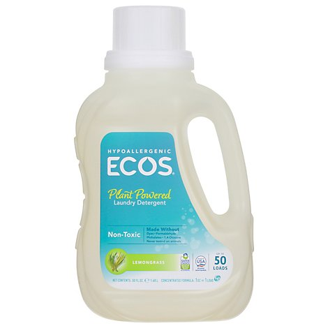 ECOS Laundry Detergent Liquid With Built In Fabric Softener 2X Lemongrass Jug - 50 Fl. Oz.