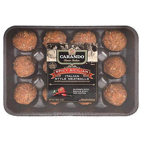 Carando Meatballs Italian Style Sicilian Recipe Hot - 16 Oz