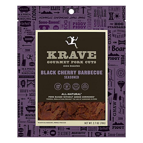 Krave Pork Jerky Black Cherry Barbecue Seasoned - 2.7 Oz