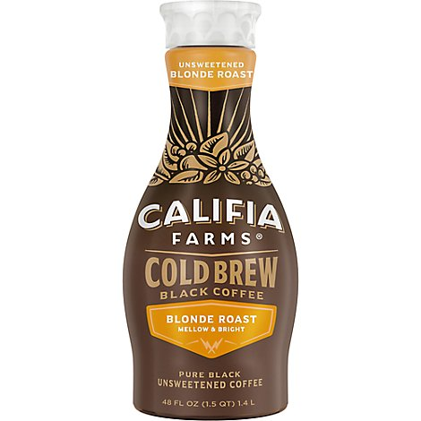 Califia Farms Cold Brew Coffee Pure Black Lightly Sweetened - 48 Fl. Oz.