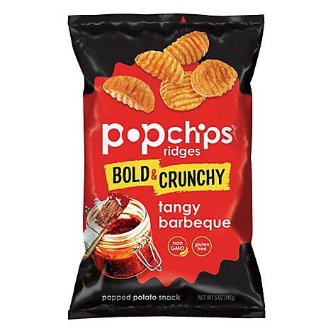 popchips Ridges Popped Potato Snack Tangy Barbeque - 5 Oz