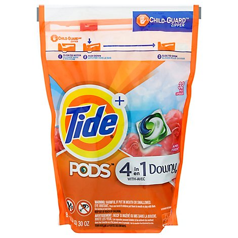 Tide Plus PODS Detergent Pacs 4In1 With Downy April Fresh - 32 Count