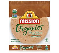 Mission Organic Tortillas Whole Wheat Soft Taco Bag 6 Count - 10.5 Oz