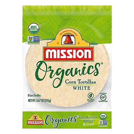 Mission Organic Tortillas Corn White Bag 8 Count - 8.67 Oz