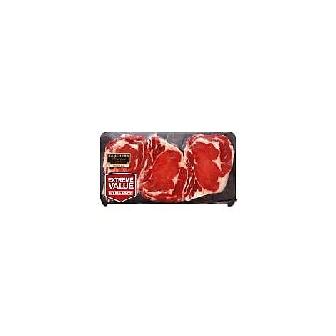Meat Counter Beef Ribeye Steak Bone In Thin Value Pack - 2 LB