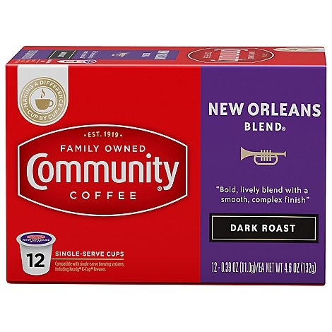 Community Coffee Coffee K-Cup Pods Special Dark Roast New Orleans Blend - 12 Count