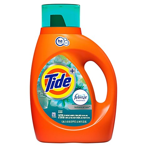 Tide Plus Liquid Laundry Detergent Febreze Freshness Botanical Rain HE Turbo Clean - 46 Fl. Oz.