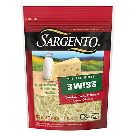 Sargento Cheese Shredded Swiss & Gruyere Off The Block - 5 Oz