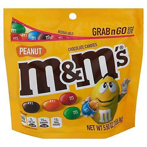 M&MS Chocolate Candies Peanut Grab & Go Size - 5.5 Oz