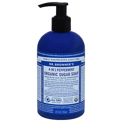 Dr Bonner Sugar Peppermint Pump Soap - 12 Oz