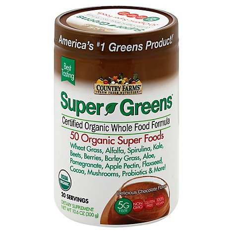 Country Farms Super Greens Chocolate Powder - 106 Oz