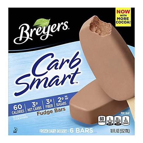 Breyers CarbSmart Frozen Dairy Dessert Fudge Bars - 6 Count