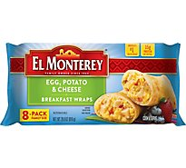El Monterey Breakfast Wraps Egg Potato & Cheese Family Size 8 Count - 28.8 Oz