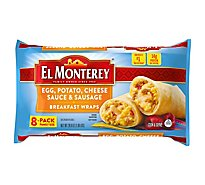 El Monterey Breakfast Wraps Egg Potato Cheese Sauce & Sausage Family Size 8 Count - 28.8 Oz