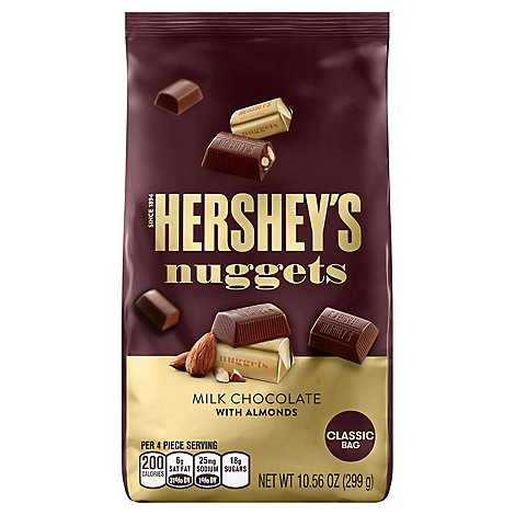 HERSHEYS Chocolate Nuggets Classic Bag Milk Chocolate With Almonds - 10.56 Oz
