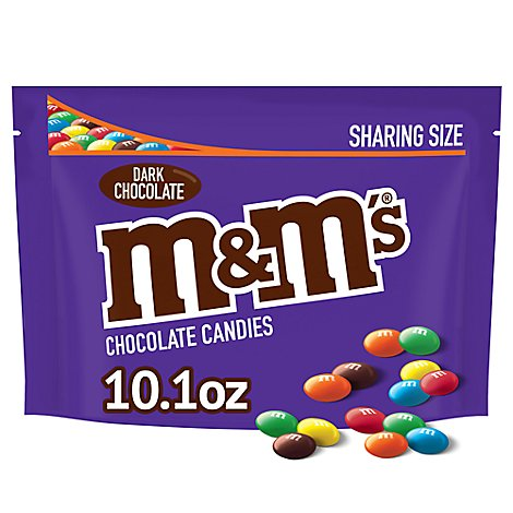 M&Ms Chocolate Candy Dark Chocolate Sharing Size Bag - 10.1 Oz