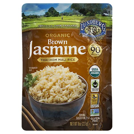 Lundberg Organic Rice Jasmine Thai Hom Mali Brown Box - 8 Oz